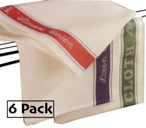 6x Linen Union Tea Towels Catering  Kitchen Restaurant Bar Glass Cloth 3 Colours