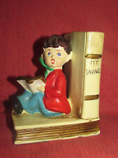 "Vintage ""MY SAVINGS"" BANK wStopper HandPainted STAR Japan Classic Boy Reading 5"""