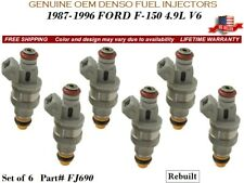 6 Fuel Injectors OEM DENSO for 1987-1996 FORD F-150 4.9L V6 #FJ690