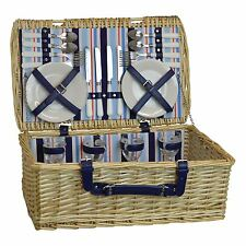 4 Person Picnic Hamper Set. Wicker Willow Outdoor Basket
