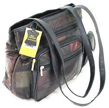 New Women Real Leather Handbag Large Multi Pocket Cabin Bag Shoulder Bag Purse