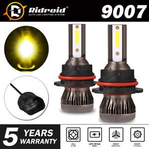 9007 HB5 CREE LED Headlight Bulb Conversion Kit High Low Beam 3000K Super yellow