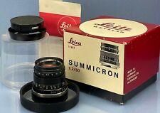 LEICA 50MM SUMMICRON F2 BLACK 11817 WETZLAR 2ND VERSION M LENS +CAPS +SHADE +BOX