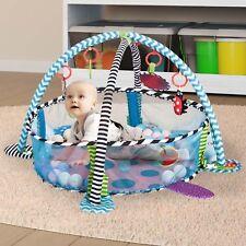 HOMCOM Baby Kids Play Mat Floor Activity Center Ball Pit with Mesh Walls Blue
