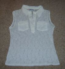 LADIES OFF WHITE LACE SLEEVELESS SUMMER TOP VEST FROM MORGAN DE TOI S 8 USED