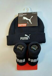 PUMA Baby Beanie & Bootie Combo - Size 0-6 months - Black with White Logo