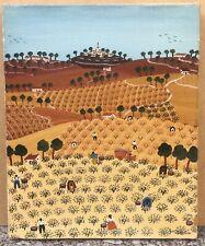 Tableau Huile Art Naïf Anne-Marie Sabatier Paysage Provence Cueillette Champs XX