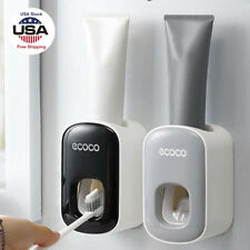Automatic Toothpaste Dispenser Squeezer Toothbrush Holder Set Wall Mount Stand