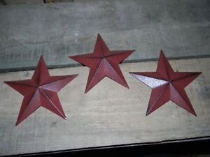 "Set of 3 5 1/2"" BURGUNDY BLACK BARN STARS Metal Tin  Primitive Country 5.5"""