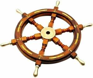 """24"""" Nautical Wooden Ship Steering Wheel with Brass Anchor & Strips Pirate Decor"""