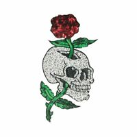 Sequin Flower Skull L (Sew On) Embroidery Applique Patch Sew Iron Badge