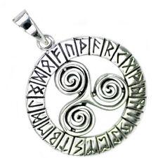 .925 Solido Argento Finissimo Triscele Trinity Rune Norreno Ciondolo Viking P056