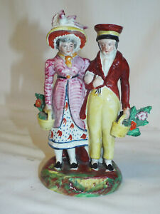Antique Staffordshire bocage figure of Dandies.#2