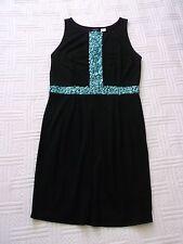 """BLACK  JERSEY  DRESS     size  Medium  - 14  ?    GREEN SEQUIN  TRIM    37"""" long"""