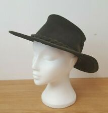 Big Wallaby All Weather Hat Size L Khaki Green Suede Wide Brim