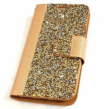 For LG K10 / Premier LTE -  Leather Card ID Wallet Pouch Case Gold Diamond Studs