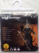 Black Sorceress Witch Kids Halloween Fancy Party Costume Size S 3-4 Yrs 104cm BN