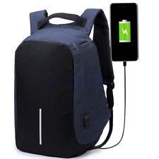 Mochila antirrobo impermeable USB cargador portátil viaje escolar bolsa azul BC