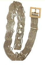 Chanel Belt Wide Brushed Gold  Chain Links Square Buckle Adjustable