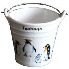 Penguin Teabag tidy. Large bucket shaped used teabag pot, penguins both sides