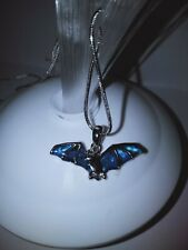 Brand NEW! Marine Opal Paua Shell Bat Necklace Pendant on 48cm chain. Flying Fox
