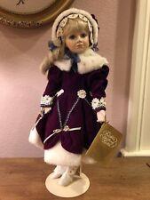 Franklin Heirloom Doll - Margaret Lynn - Christmas Child Girl - Rare Burgundy