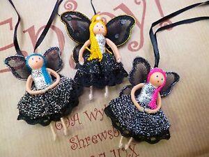 SALE Fair Trade Gift Fabric Fairies Neon Black Handmade Multicolour CLEARANCE