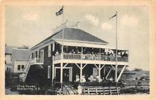 SCHELBURNE, Nova Scotia Canada   CLUB HOUSE~Crowded Deck    c1920's B&W Postcard