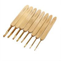 8x Bamboo Crochet Hooks Set Needles Knitting Handle Weave Yarn Sewing Tools Z Hu