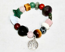 NIB STONE CIRCLE STUDIO Tree Charm Gem Stone Stretch Bracelet Different Stones
