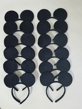 24 pc Mickey Mouse Ear All Black S Plush Headbands Birthday Favor Minnie Costume