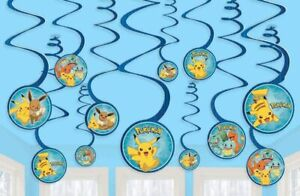 Pokemon Swirl Decoration Birthday Party Supplies Dangler Pack of 12'