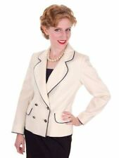 Vintage Lilli Ann Jacket Blazer Ladies Cream w/ Navy Trim Horse Buttons  Small