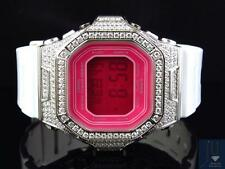 Ladies Iced Out Pink Dial Square Baby G-Shock Simulated Diamond Watch 5600