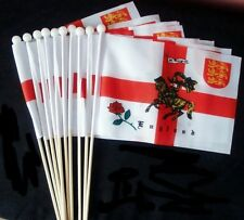 """10 X ST GEORGE CHARGER HAND WAVING FLAGS 9"""" X 6"""" wooden pole ENGLAND FLAG"""
