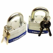 2pc 50mm Keyed Alike Padlock Laminated Steel Padlocks Shed Gate Lock TE152