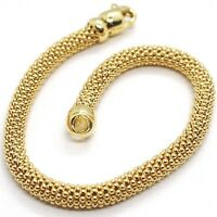 18K YELLOW GOLD BRACELET, 18.5 CM, 7.3 INCHES, BASKET WEAVE TUBE, 5 MM THICKNESS