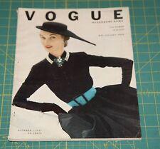 October Vogue 1951 Rare Vintage Vanity Fair Fashion Design Collection Magazine