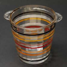 New ListingMcm Vintage Glass Ice Bucket Barware Striped Ribbed Red Yellow Retro