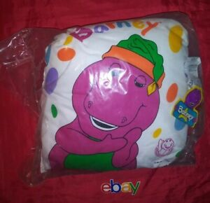 Barney the Purple Dinosaur 16X16 Pillow The Lyons Group 1992 BRAND NEW W TAGS