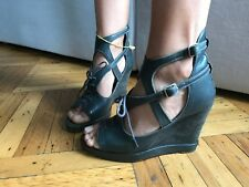shoes, wedges, sandals, Surface to air, green, Leather, Stylish, size 9