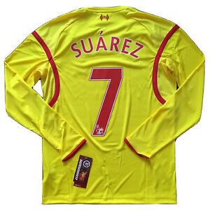 2014/15 Liverpool Away Jersey #7 Suarez Small Warrior Long Sleeve Soccer NEW