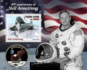 Astronaut NEIL ARMSTRONG / First Man on Moon Space Stamp Sheet 2020 Sierra Leone