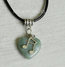 Indian Agate & Music Note Pendant Necklace Musician Reiki Healing Ladies Gift