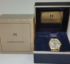 Vintage Hamilton Masterpiece 10k Solid Gold Day Date Automatic Watch Orig Boxes