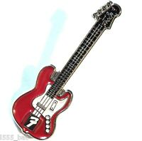 Red Electric Guitar Enamel Badge Country Heavy Metal Rock Music Band Lapel Pin