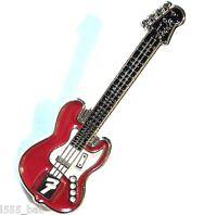 Red Electric Guitar Enamel Badge Country Heavy Metal Rock Music Band Lapel Pin