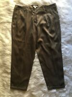 Chico's Womens Sz 3 Straight Leg Pleated Cuffed Dress Pants Brown Polyester