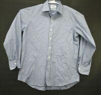 Ledbury Men's Size 16.5 Long Sleeve Classic Fit Checkered Dress Shirt Blue/White