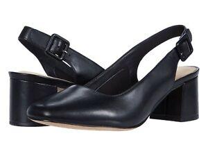 Women's Shoes Clarks SHEER VIOLET Slingback Pump Heels 44077 BLACK LEATHER